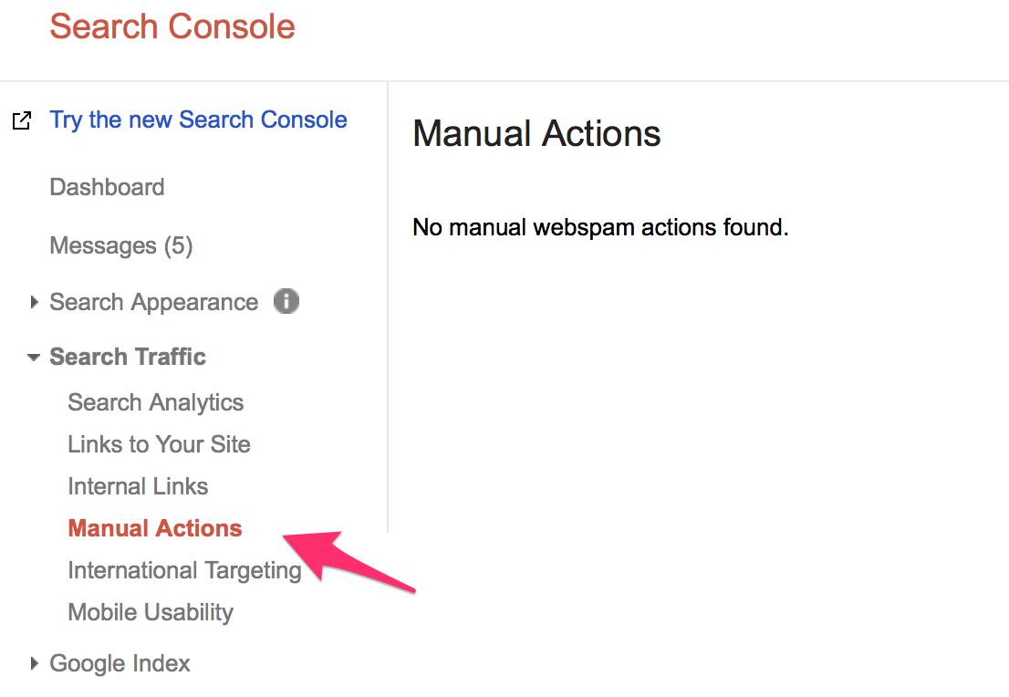 گزارش جریمه دستی در کنسول ویمستر گوگل