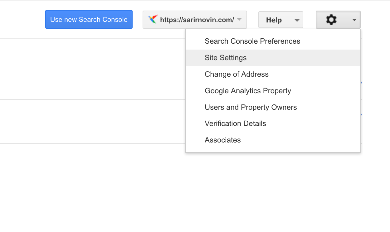 انتخاب site settings جهت معرفی دامنه اصلی به گوگل