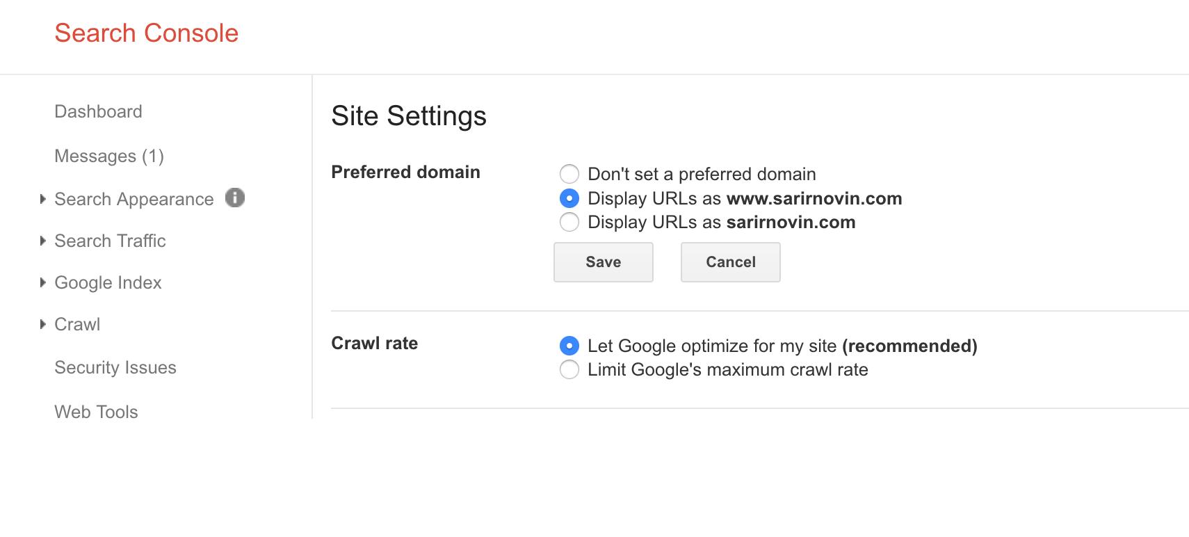 معرفی دامنه اصلی به گوگل جهت نمایش با حالت www یا بدون آن