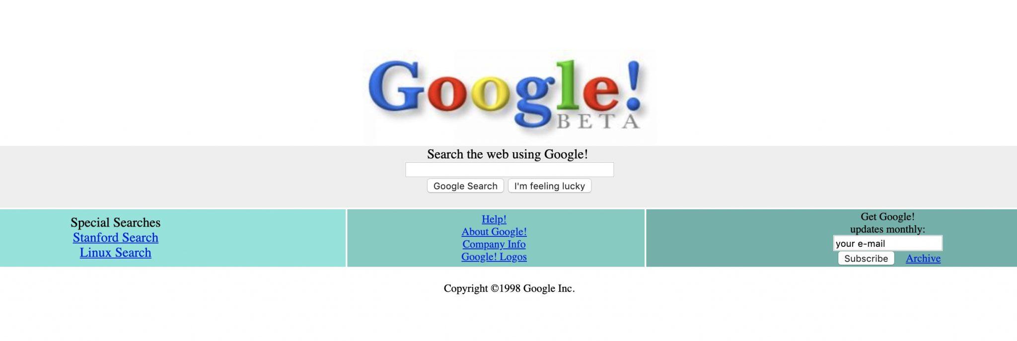 تصویر از اولین وب سایت گوگل در سال 1998