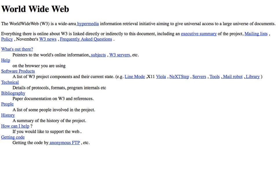 اولین صفحه یک وب سایت در اینترنت